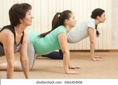 Two beautiful pregnant women doing yoga with a trainer