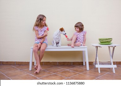 Two beautiful sister kids eating a watermelon ice cream. Family love and lifestyle outdoors