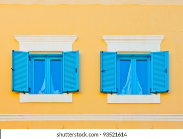 Two beautiful windows from an old house in Kos island in Greece
