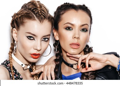 Two Beautiful Women with Healthy Long Hair Braid. White background not isolated