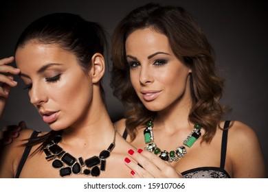 Two beautiful women in lingerie