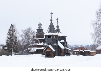 Two beautiful wooden churches in the open-air museum in Suzdal, Russia