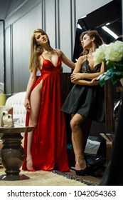 Two beautiful young girls in evening dresses posing in expensive interior