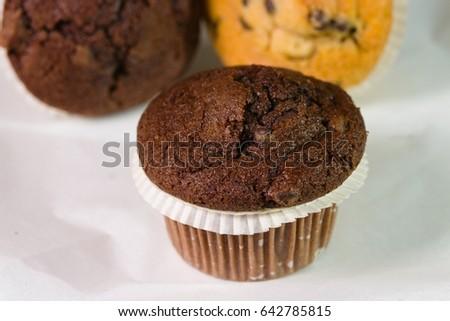 Two Beautifulyummy Tempting Chocolate Muffins On Stock Photo Edit