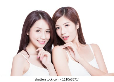 two beauty skincare woman on the white background