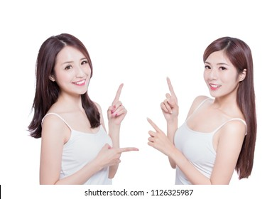 two beauty skincare woman show something on the white background