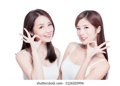 two beauty skincare woman show ok to you on the white background