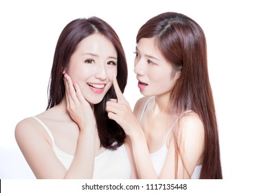 two beauty skincare woman touch nose on the white background