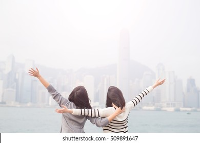 two beauty woman feel free and back to you in hongkong