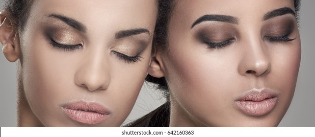 Two beauty young african american women. Closeup portrait of beautiful girls with natural makeup.