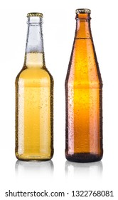 two beer bottles with water drops