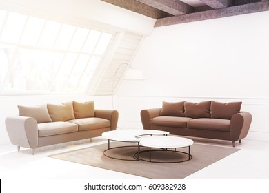 Two beige sofas and a table are standing in a room in an attic. There is a narrow round table and a carpet. Side view. 3d rendering, mock up