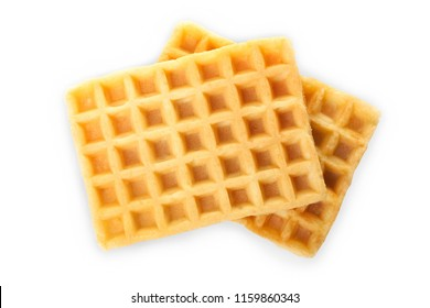Two Belgian waffles isolated on white. Top view.