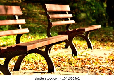 Two benches on the walking circuit of the spa town of Jesen ik, famous for its hydrotherapy methods by Vincenz Priessnitz - Shutterstock ID 1741588562