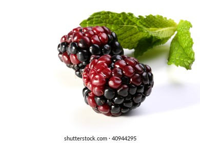 Two berries of a blackberry with green leaves of mint.