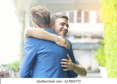 Two best friend giving a hug each other when met, happy moment time for long friendship