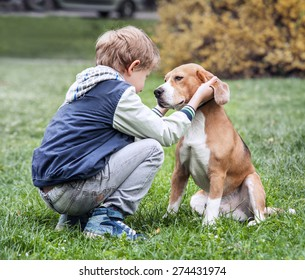 Two best friends - boy and his dog