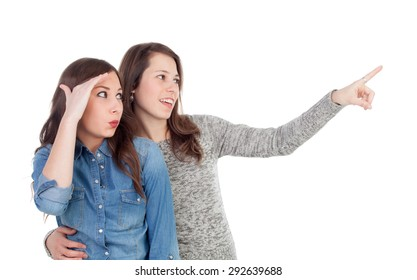 Two best friends looking at side isolated on a white background