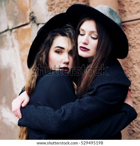 9807cd77ba5 Two Best Friends Wearing Stylish Outfit Stock Photo (Edit Now ...