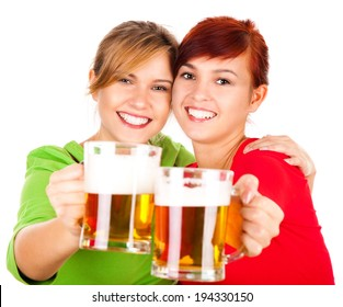 two the best girl friends with beer, white background