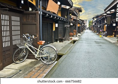 Two bicycle in Old town area of Takayama, Japan.