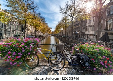 Two bicycle parked on the bridge over the canal under the autumn lights of the early sunset, The Hague, Netherlands