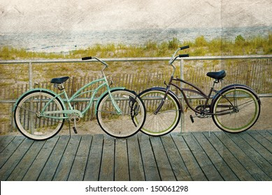 two bicycles parked on NJ beach boardwalk with watercolor paper texture