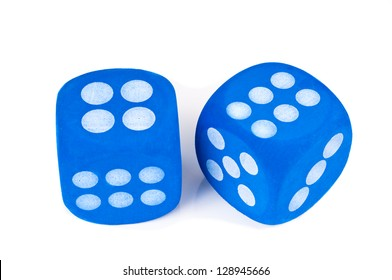 Two big blue fuzzy dice on white background.