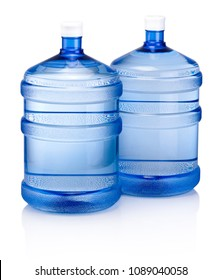 Two big blue plastic cooler bottle for potable water isolated on a white background