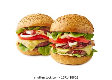 Two big juicy burgers on white background