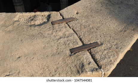 Two big stone slab stapled together - Dada Harir Stepwell in Asarwa area of Ahmedabad, Gujarat State, India.