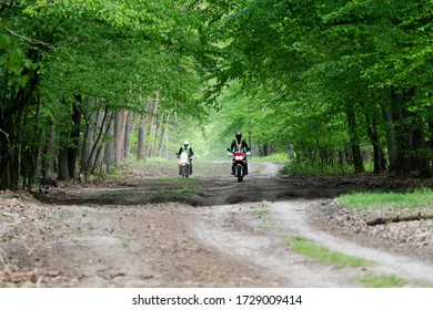 Two bikers on an adventure motcycles on a beautiful dirt path in a green trees forrest in Poland (Europe) on a nice and sunny spring summer day