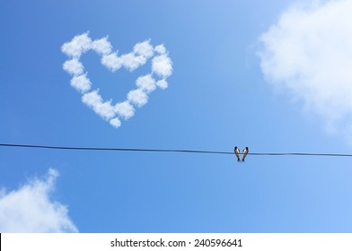 Two Bird Hang On Wire Under Blue Sky with Love Cloud Concept,Selective Focus