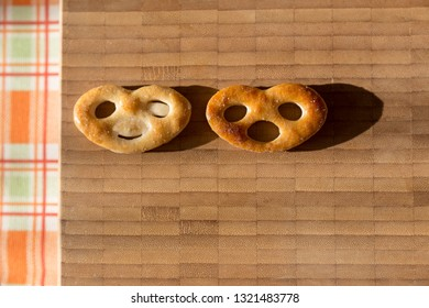 Two biscuits - optimist and pessimist