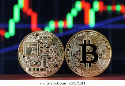 two Bitcoin coin on Line chart background