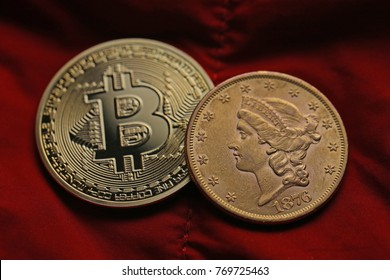 Two Bitcoins on a red background.