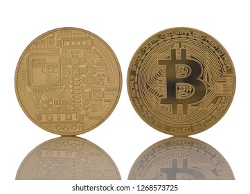 Two BitCoins on white with reflection. Front and back sides are shown.