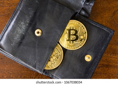 Two bitcoins in a wallet