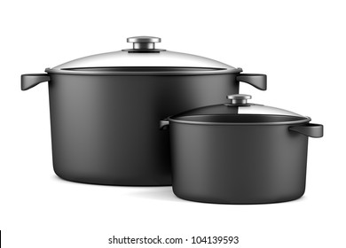 two black cooking pans isolated on white background