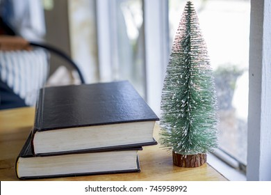 two black cover books on the wood table near the glass window, with Christmas tree .book lover relax on holiday.