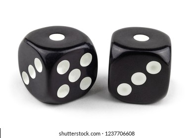 Two black dice isolated on a white background. One and one.