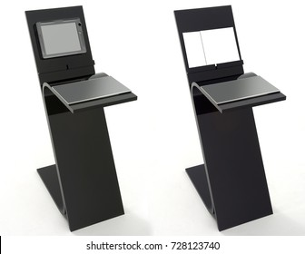 Two black display stands with interactive tablet screen and books