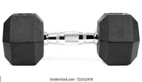 Two black dumbbells on a white background, isolated