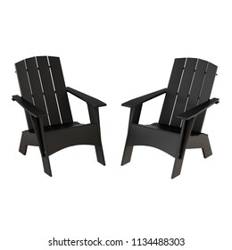 Two black garden wooden chairs on a white background