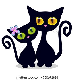 Two Black kittens on a white background