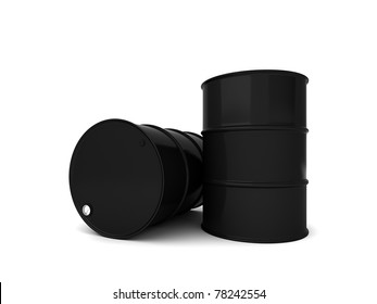 Two black oil barrels 3D render isolated over white