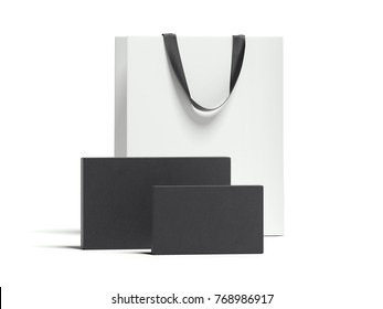 Two black packages and white shopping bag isolated on bright background. 3d rendering