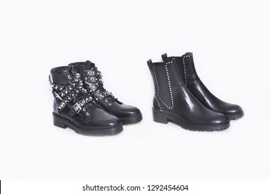Two Black Punk rock boots shoes isolated
