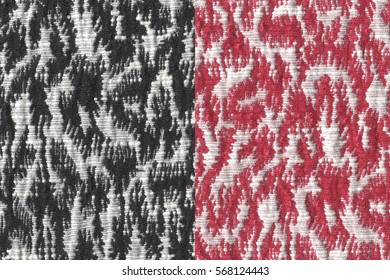 two black and red color jacquard woven fabric textures for background.