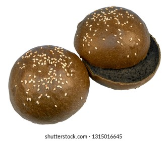 Two black sesame buns for hamburger